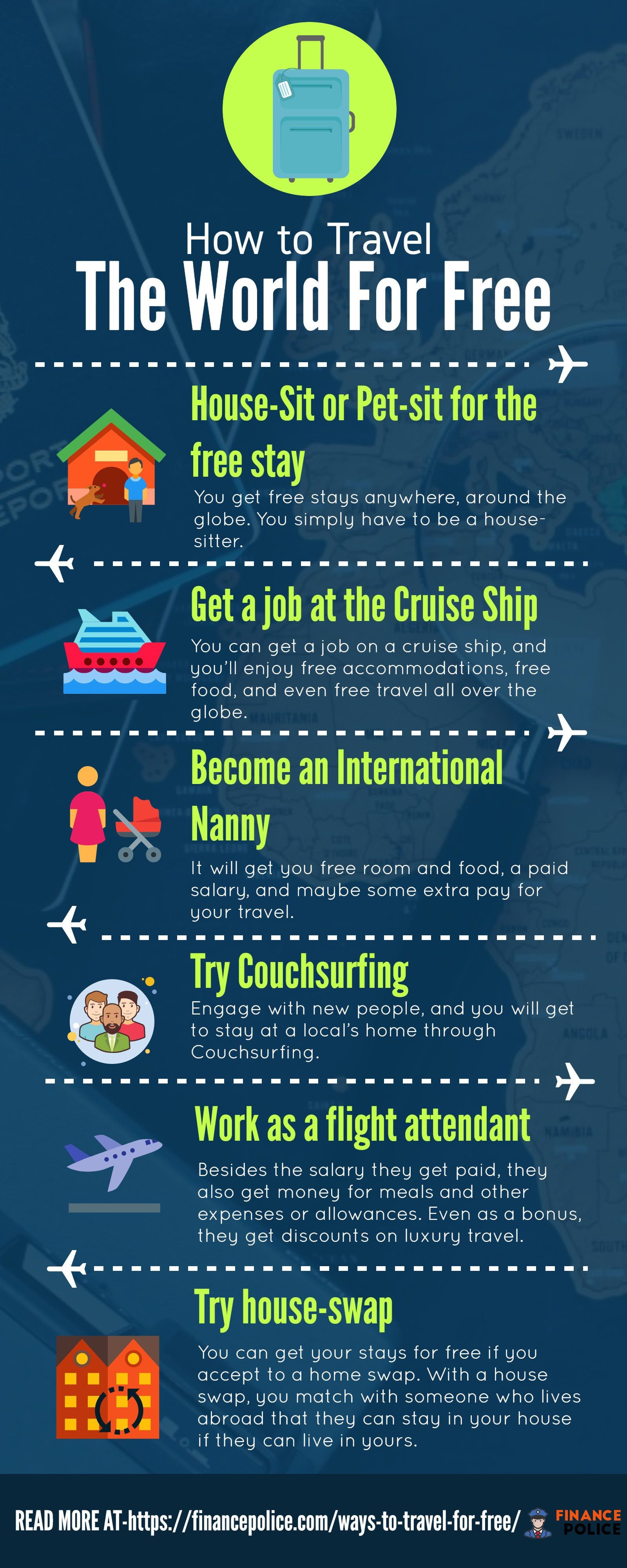 ways to travel for free - infographic