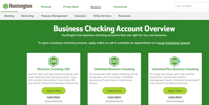 huntington best business bank accounts